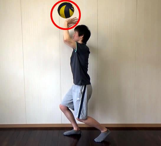 ボールをキャッチする位置が頭上方向へズレる